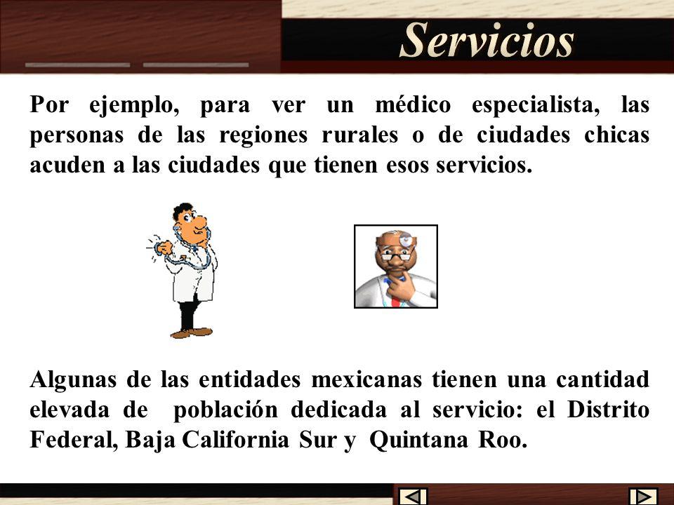 En el sector de los servicios es al que se dedica la mayoría de la población económicamente activa de nuestro país, son aquellas personas que nos brindan su servicio a cambio de un pago convencional.
