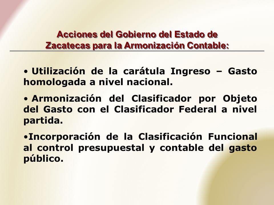 Acciones del Gobierno del Estado de Zacatecas para la Armonización Contable: Utilización de la carátula Ingreso – Gasto homologada a nivel nacional.