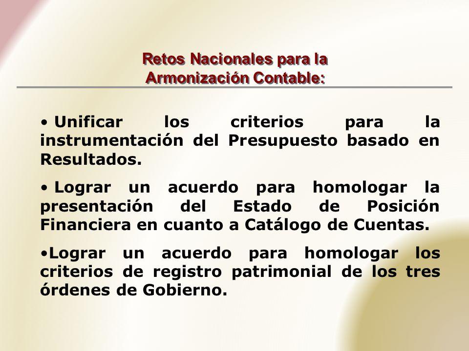 Retos Nacionales para la Armonización Contable: Unificar los criterios para la instrumentación del Presupuesto basado en Resultados.