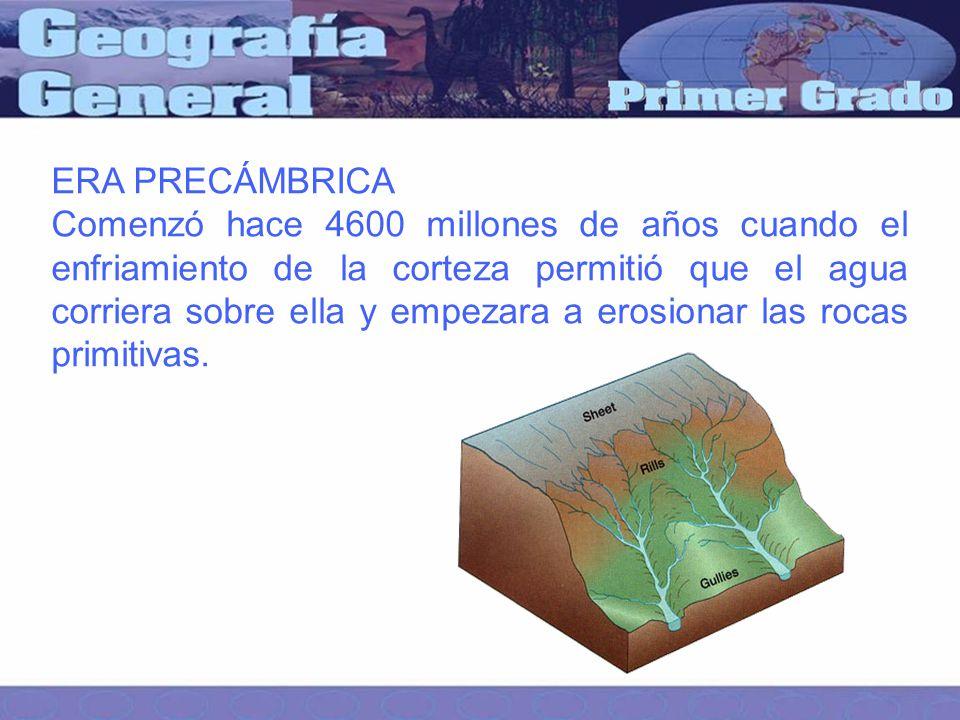 ERA PRECÁMBRICA Comenzó hace 4600 millones de años cuando el enfriamiento de la corteza permitió que el agua corriera sobre ella y empezara a erosionar las rocas primitivas.