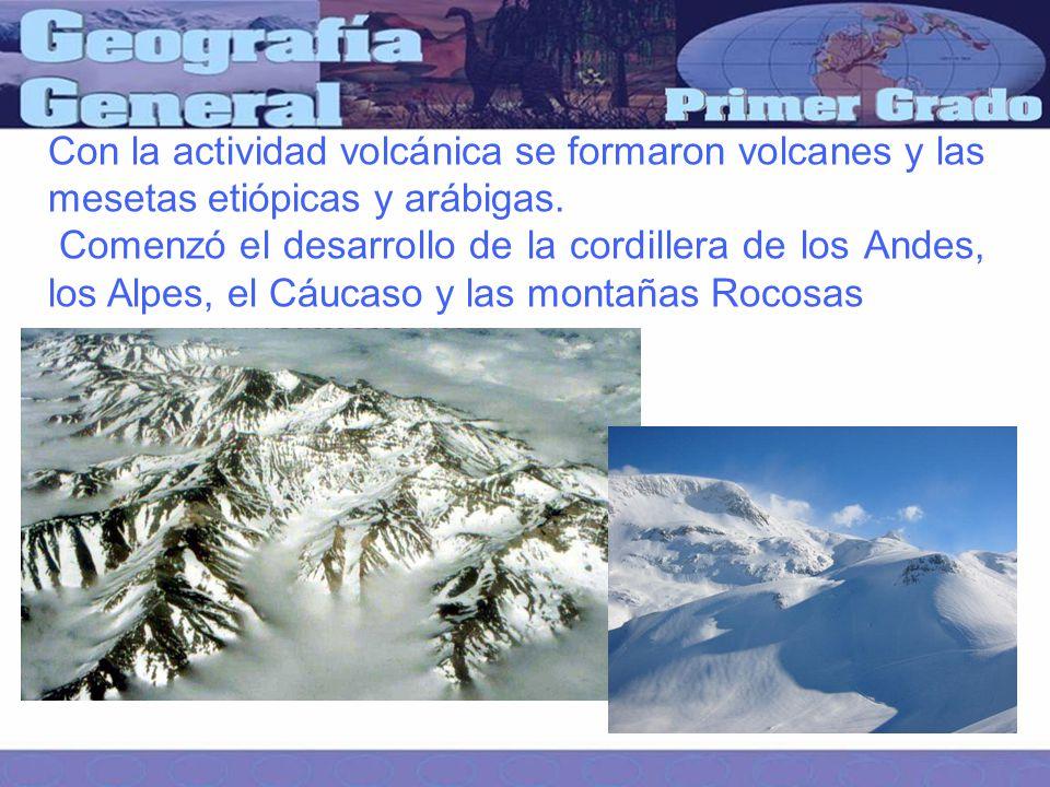 Con la actividad volcánica se formaron volcanes y las mesetas etiópicas y arábigas.