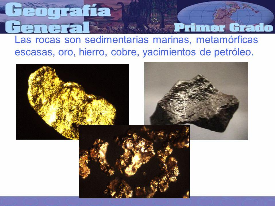 Las rocas son sedimentarias marinas, metamórficas escasas, oro, hierro, cobre, yacimientos de petróleo.