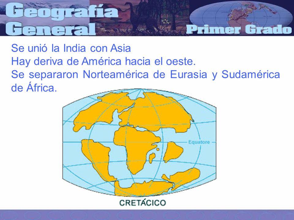 Se unió la India con Asia Hay deriva de América hacia el oeste.