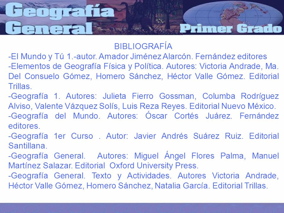 BIBLIOGRAFÍA -El Mundo y Tú 1.-autor.Amador Jiménez Alarcón.