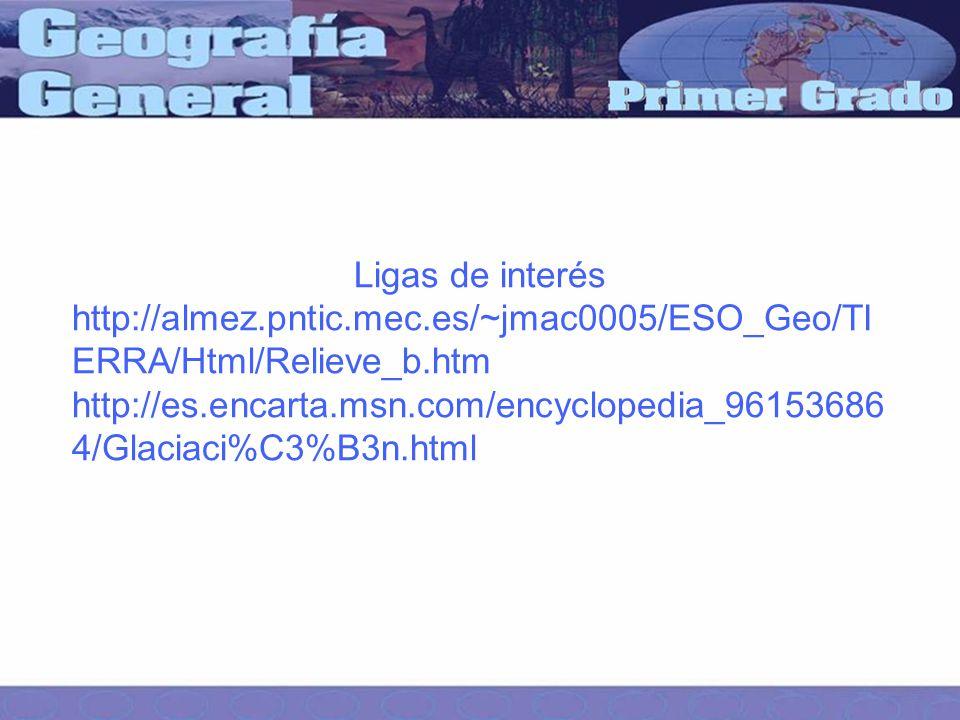 Ligas de interés http://almez.pntic.mec.es/~jmac0005/ESO_Geo/TI ERRA/Html/Relieve_b.htm http://es.encarta.msn.com/encyclopedia_96153686 4/Glaciaci%C3%B3n.html