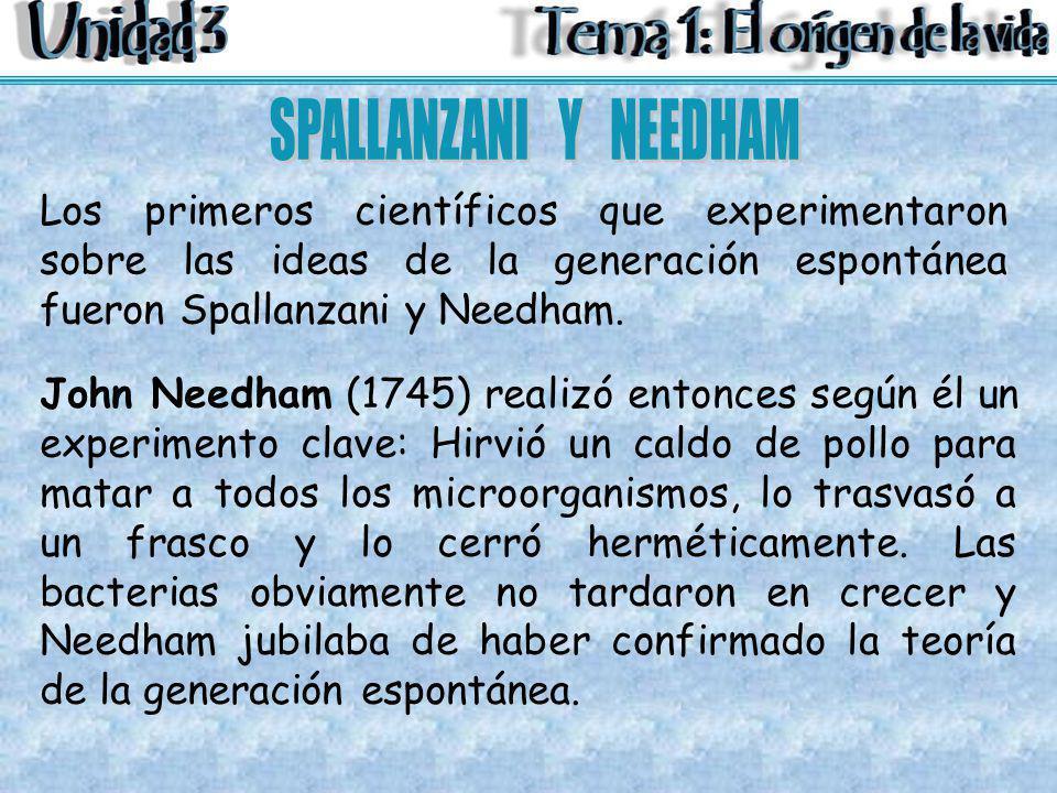 Los primeros científicos que experimentaron sobre las ideas de la generación espontánea fueron Spallanzani y Needham. John Needham (1745) realizó ento