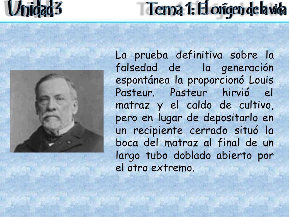 La prueba definitiva sobre la falsedad de la generación espontánea la proporcionó Louis Pasteur. Pasteur hirvió el matraz y el caldo de cultivo, pero