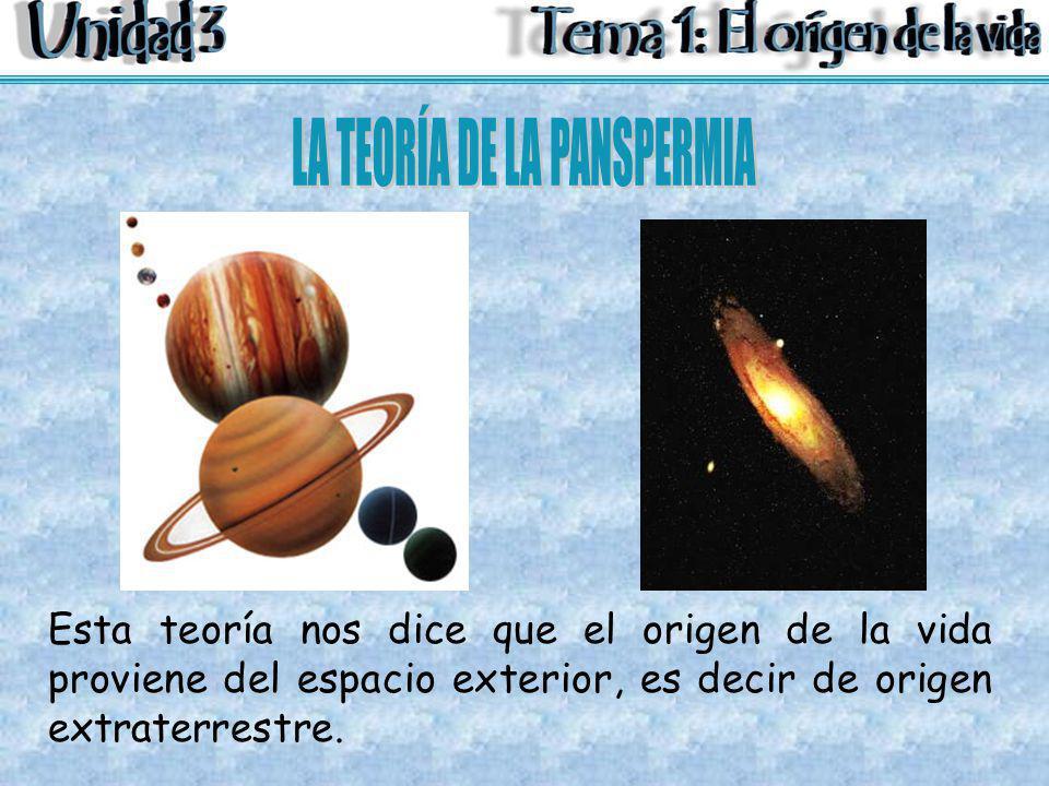 Esta teoría nos dice que el origen de la vida proviene del espacio exterior, es decir de origen extraterrestre.