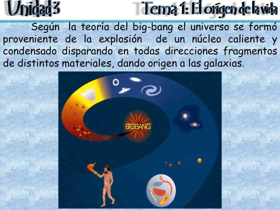 Según la teoría del big-bang el universo se formó proveniente de la explosión de un núcleo caliente y condensado disparando en todas direcciones fragm