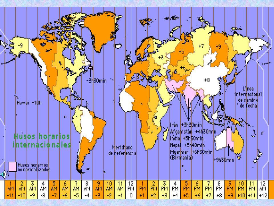 El sistema de Husos Horarios consiste en la división de la esfera terrestre en 24 partes, de 15° cada una, que en conjunto suman los 360° de la circunferencia terrestre.