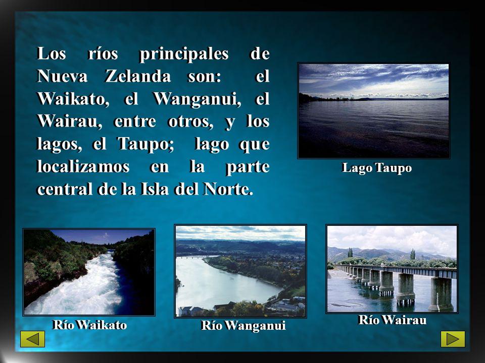 Los ríos principales de Nueva Zelanda son: el Waikato, el Wanganui, el Wairau, entre otros, y los lagos, el Taupo; lago que localizamos en la parte ce