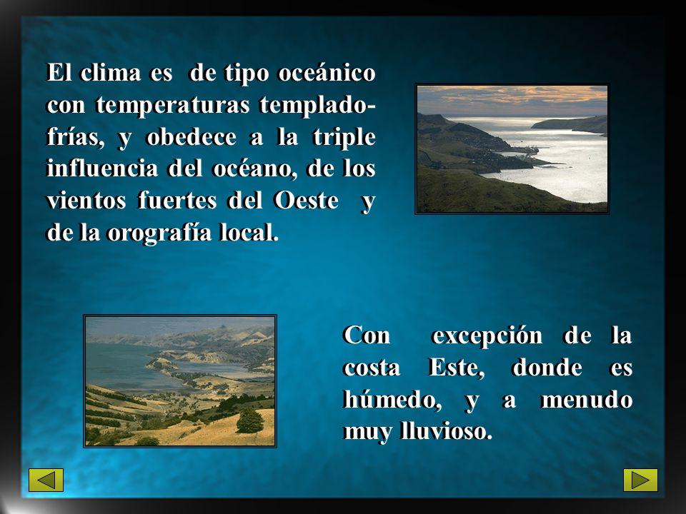 El clima es de tipo oceánico con temperaturas templado- frías, y obedece a la triple influencia del océano, de los vientos fuertes del Oeste y de la o