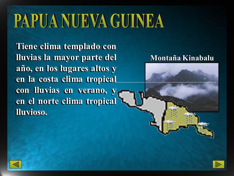 Montaña Kinabalu Tiene clima templado con lluvias la mayor parte del año, en los lugares altos y en la costa clima tropical con lluvias en verano, y e