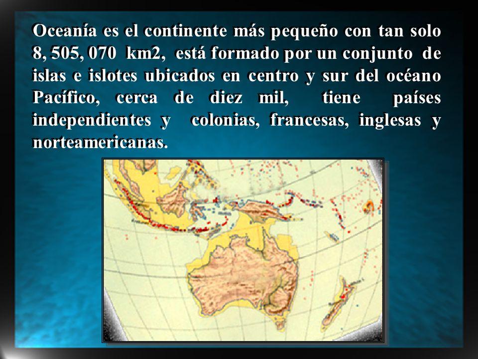Oceanía es el continente más pequeño con tan solo 8, 505, 070 km2, está formado por un conjunto de islas e islotes ubicados en centro y sur del océano