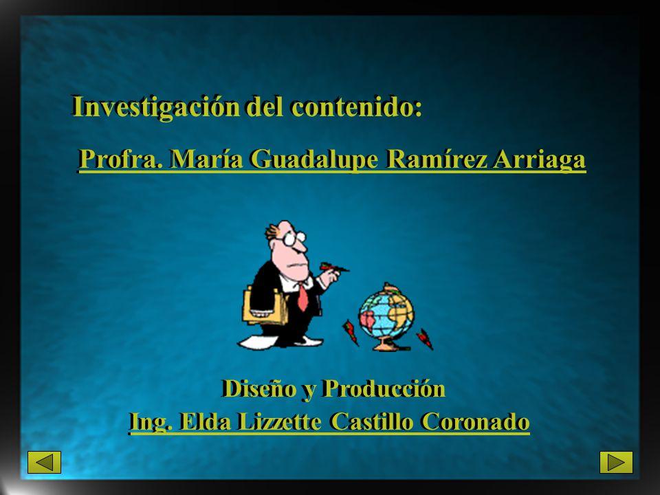 Diseño y Producción Investigación del contenido: Profra. María Guadalupe Ramírez Arriaga Profra. María Guadalupe Ramírez Arriaga Ing. Elda Lizzette Ca