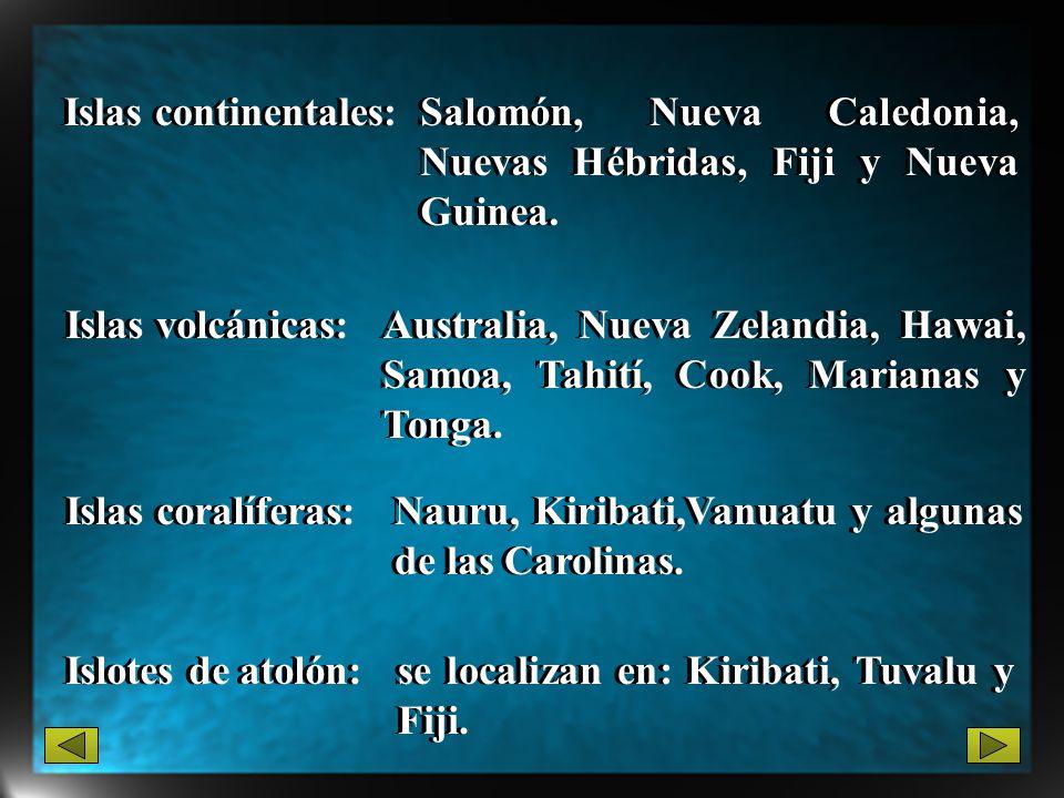 Islas continentales: Salomón, Nueva Caledonia, Nuevas Hébridas, Fiji y Nueva Guinea. Islas volcánicas: Australia, Nueva Zelandia, Hawai, Samoa, Tahití