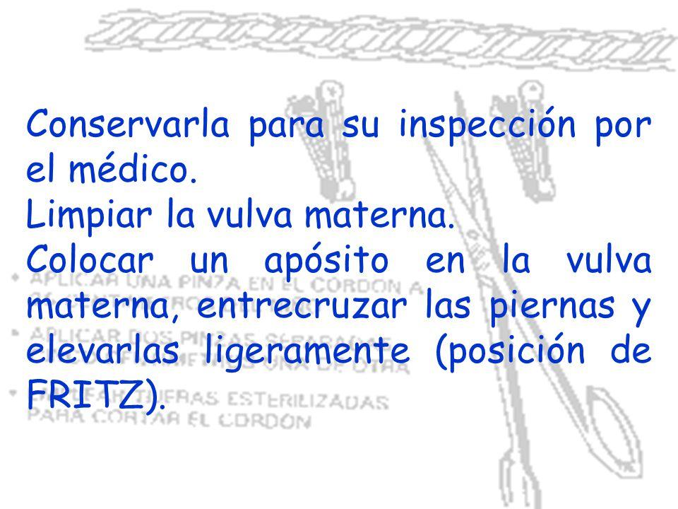 Conservarla para su inspección por el médico. Limpiar la vulva materna. Colocar un apósito en la vulva materna, entrecruzar las piernas y elevarlas li
