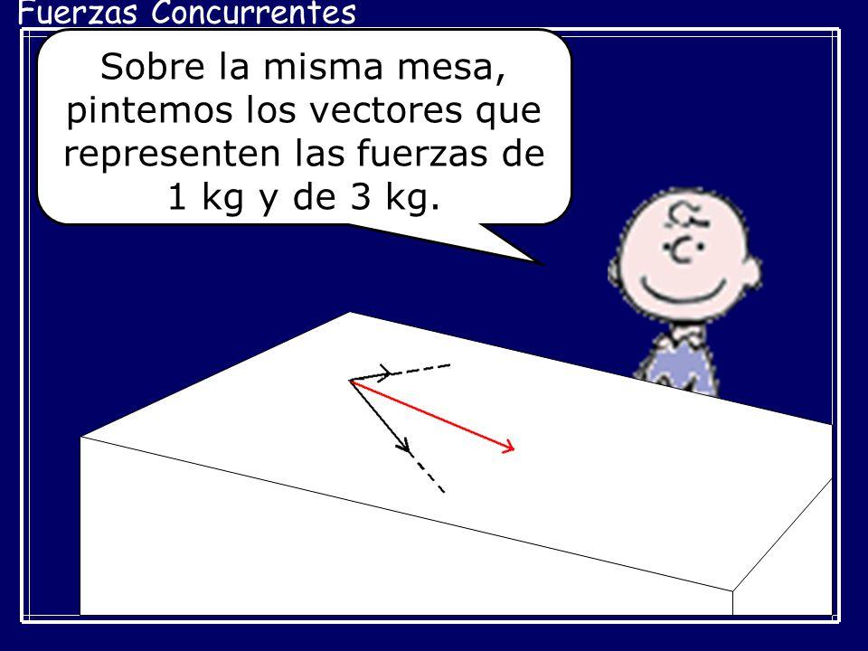 Fuerzas Concurrentes Sobre la misma mesa, pintemos los vectores que representen las fuerzas de 1 kg y de 3 kg.