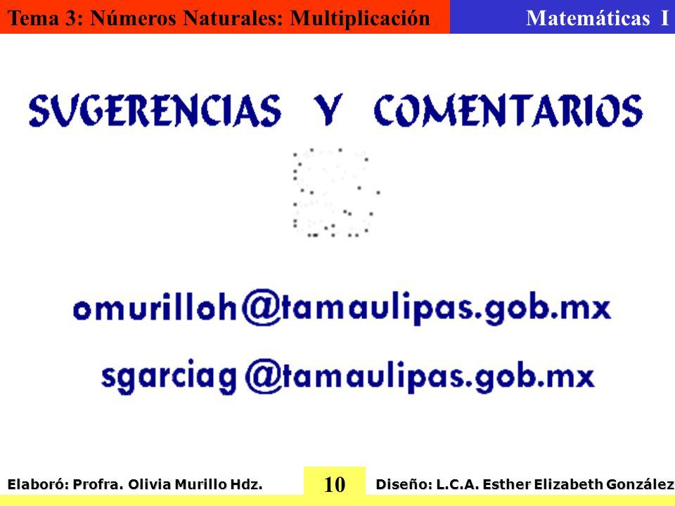 Tema 3: Números Naturales: MultiplicaciónMatemáticas I 10 Elaboró: Profra.