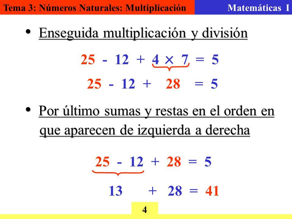 Tema 3: Números Naturales: MultiplicaciónMatemáticas I 4 E Enseguida multiplicación y división 25 - 12 + 4 7 = 5 25 - 12 + 28 = 5 P Por último sumas y restas en el orden en que aparecen de izquierda a derecha 25 - 12 + 28 = 5 13 + 28 = 41