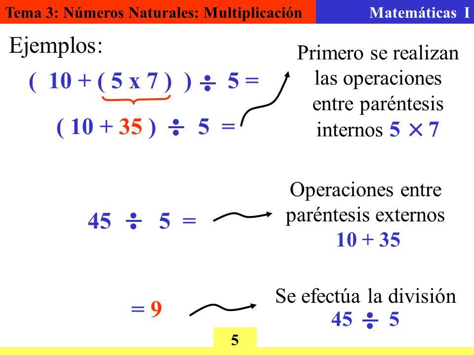 Tema 3: Números Naturales: MultiplicaciónMatemáticas I 5 Ejemplos: ( 10 + ( 5 x 7 ) ) 5 = ( 10 + 35 ) 5 = Primero se realizan las operaciones entre paréntesis internos 5 7 45 5 = Operaciones entre paréntesis externos 10 + 35 = 9 Se efectúa la división 45 5