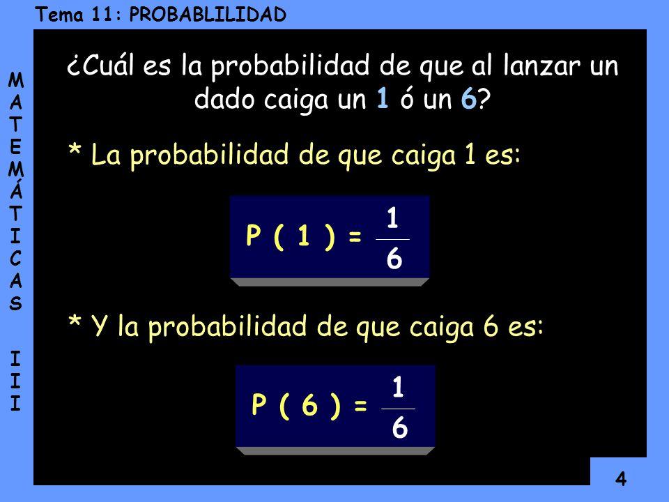 3 Tema 11: PROBABLILIDAD MATEMÁTICAS IIIMATEMÁTICAS III Un ejemplo sería: Sin embargo, la probabilidad nos permite acercarnos a esos sucesos y estudia