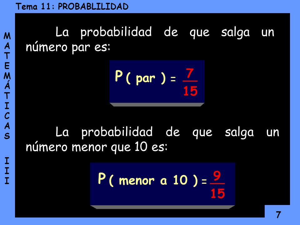 6 Tema 11: PROBABLILIDAD MATEMÁTICAS IIIMATEMÁTICAS III Veamos otro ejemplo: Supongamos que tenemos una caja con 15 tarjetas numeradas del 1 al 15. ¿C