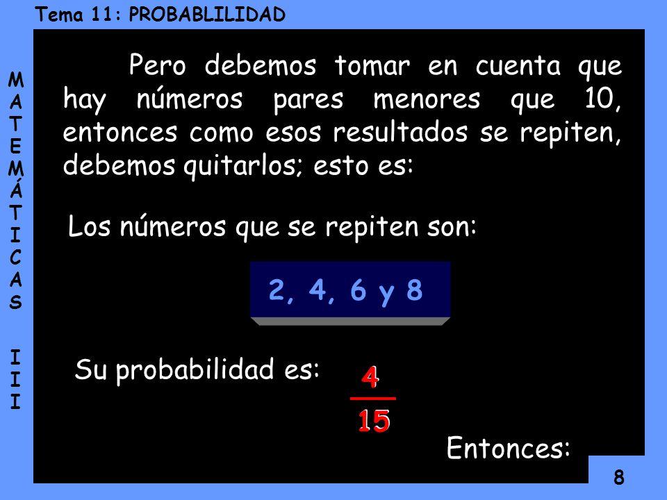 7 Tema 11: PROBABLILIDAD MATEMÁTICAS IIIMATEMÁTICAS III La probabilidad de que salga un número par es: La probabilidad de que salga un número menor qu