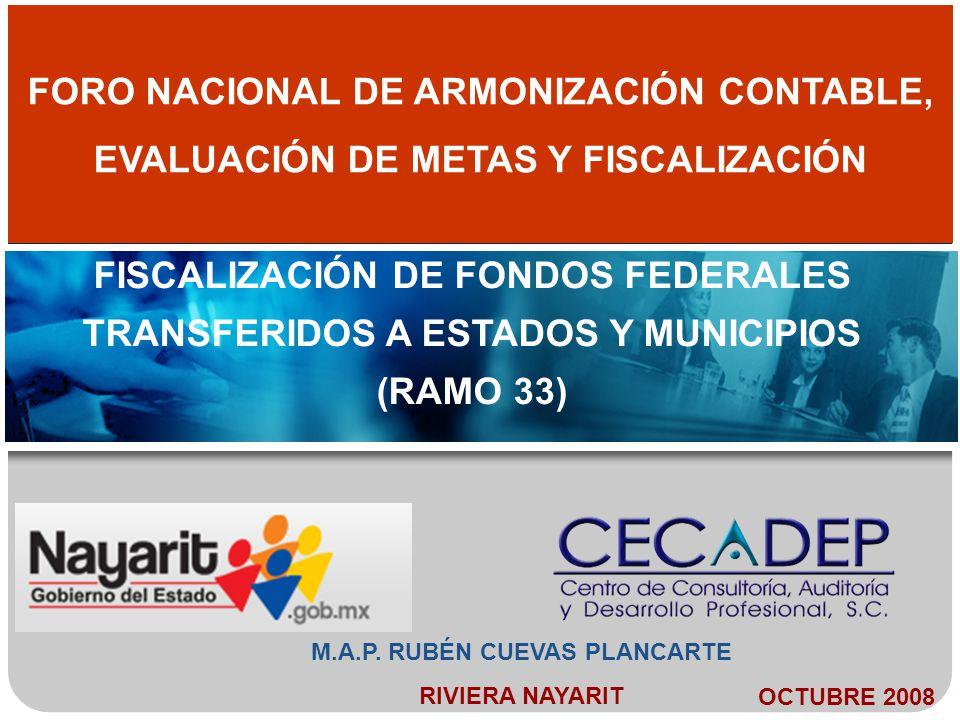 M.A.P. RUBÉN CUEVAS PLANCARTE RIVIERA NAYARIT FISCALIZACIÓN DE FONDOS FEDERALES TRANSFERIDOS A ESTADOS Y MUNICIPIOS (RAMO 33) FORO NACIONAL DE ARMONIZ