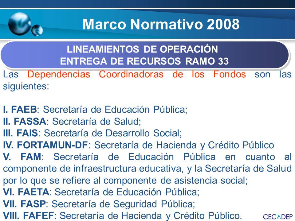 Marco Normativo 2008 LINEAMIENTOS DE OPERACIÓN ENTREGA DE RECURSOS RAMO 33 LINEAMIENTOS DE OPERACIÓN ENTREGA DE RECURSOS RAMO 33 Las Dependencias Coor