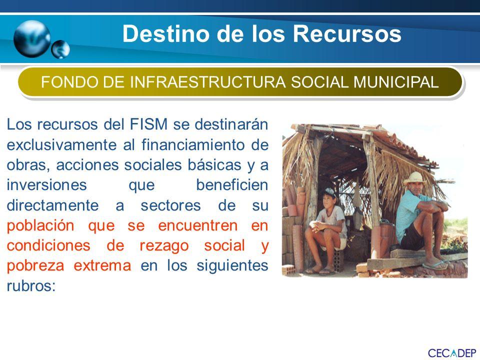 FONDO DE INFRAESTRUCTURA SOCIAL MUNICIPAL Los recursos del FISM se destinarán exclusivamente al financiamiento de obras, acciones sociales básicas y a