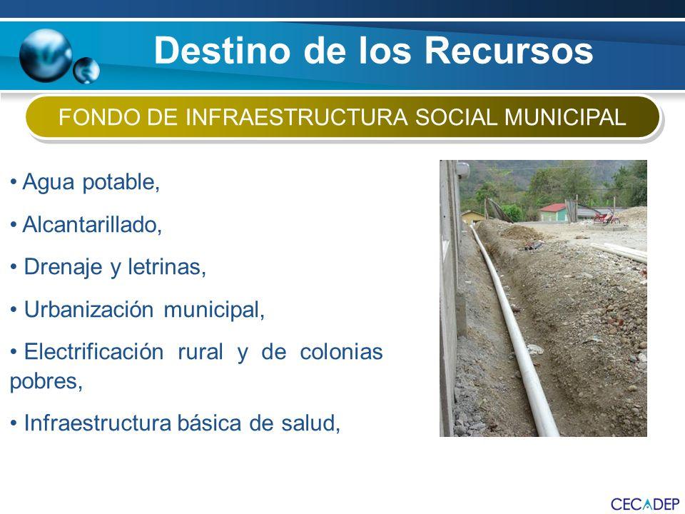 Agua potable, Alcantarillado, Drenaje y letrinas, Urbanización municipal, Electrificación rural y de colonias pobres, Infraestructura básica de salud,
