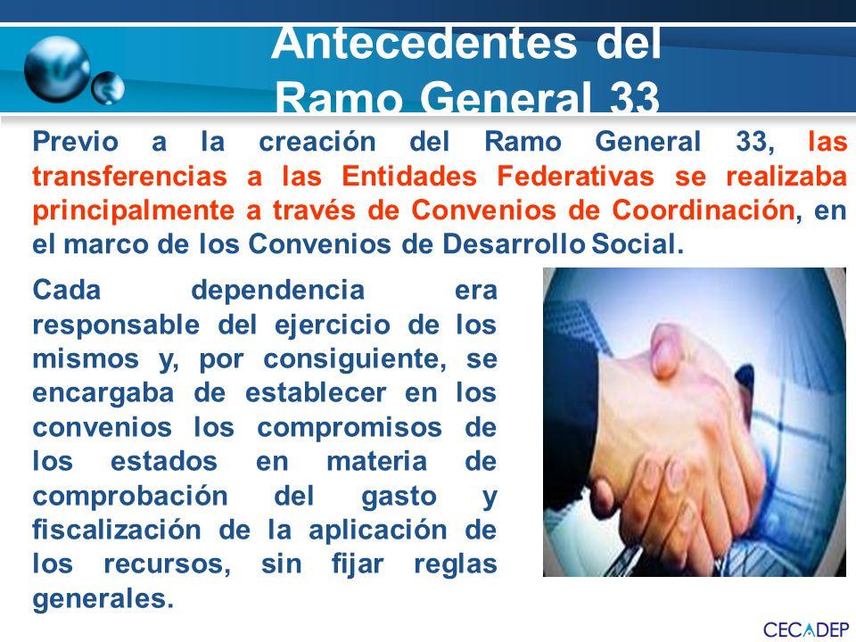 Previo a la creación del Ramo General 33, las transferencias a las Entidades Federativas se realizaba principalmente a través de Convenios de Coordina