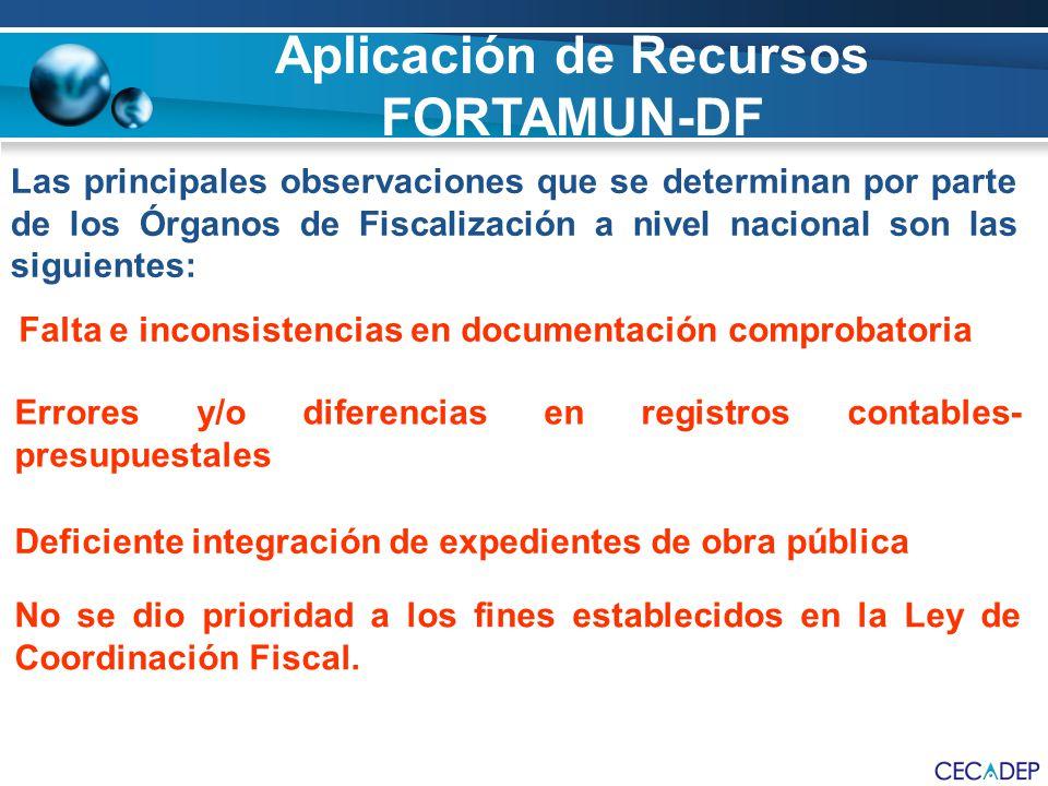 Las principales observaciones que se determinan por parte de los Órganos de Fiscalización a nivel nacional son las siguientes: Falta e inconsistencias