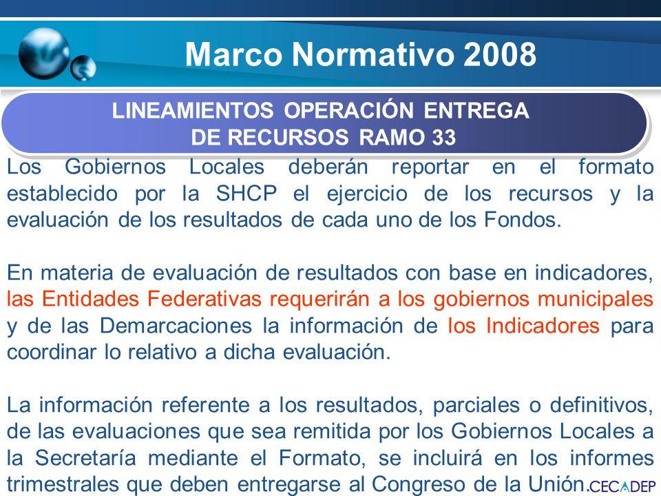 Marco Normativo 2008 LINEAMIENTOS OPERACIÓN ENTREGA DE RECURSOS RAMO 33 LINEAMIENTOS OPERACIÓN ENTREGA DE RECURSOS RAMO 33 Los Gobiernos Locales deber