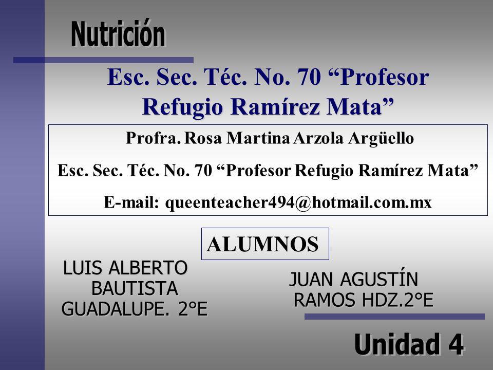 LUIS ALBERTO BAUTISTA GUADALUPE. 2°E JUAN AGUSTÍN RAMOS HDZ.2°E Profra. Rosa Martina Arzola Argüello Esc. Sec. Téc. No. 70 Profesor Refugio Ramírez Ma