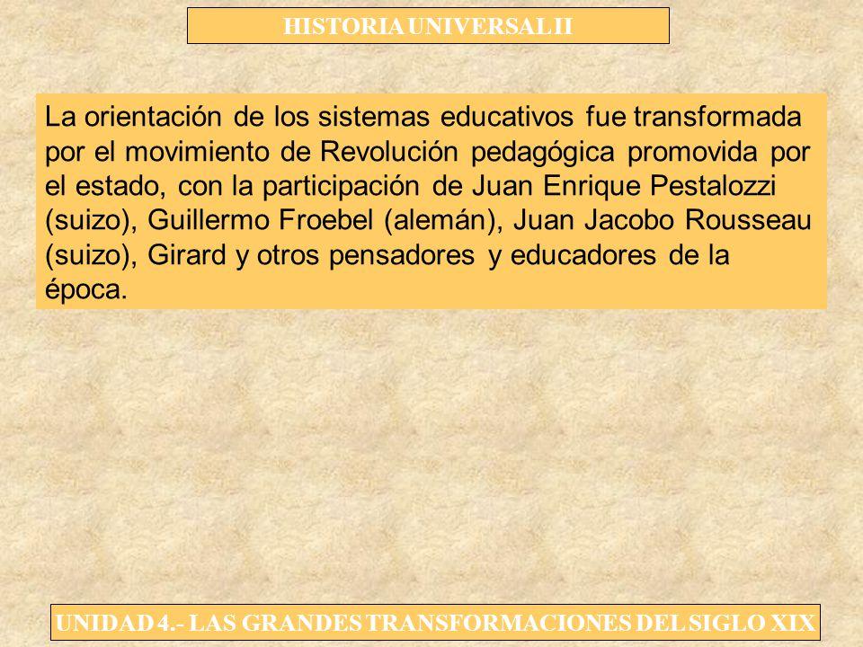 UNIDAD 4.- LAS GRANDES TRANSFORMACIONES DEL SIGLO XIX HISTORIA UNIVERSAL II La orientación de los sistemas educativos fue transformada por el movimien