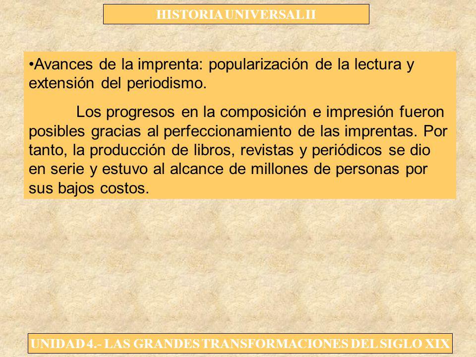 UNIDAD 4.- LAS GRANDES TRANSFORMACIONES DEL SIGLO XIX HISTORIA UNIVERSAL II Avances de la imprenta: popularización de la lectura y extensión del perio