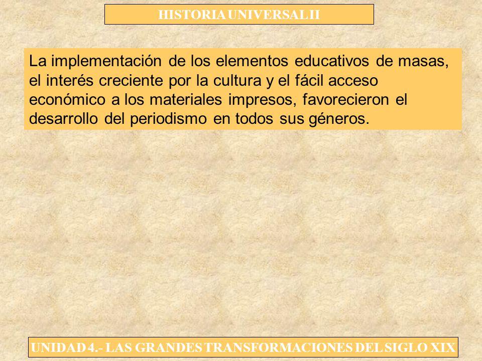 UNIDAD 4.- LAS GRANDES TRANSFORMACIONES DEL SIGLO XIX HISTORIA UNIVERSAL II La implementación de los elementos educativos de masas, el interés crecien