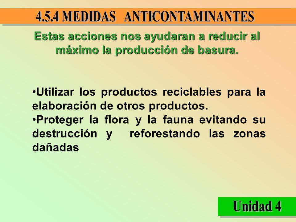 Estas acciones nos ayudaran a reducir al máximo la producción de basura. Utilizar los productos reciclables para la elaboración de otros productos. Pr