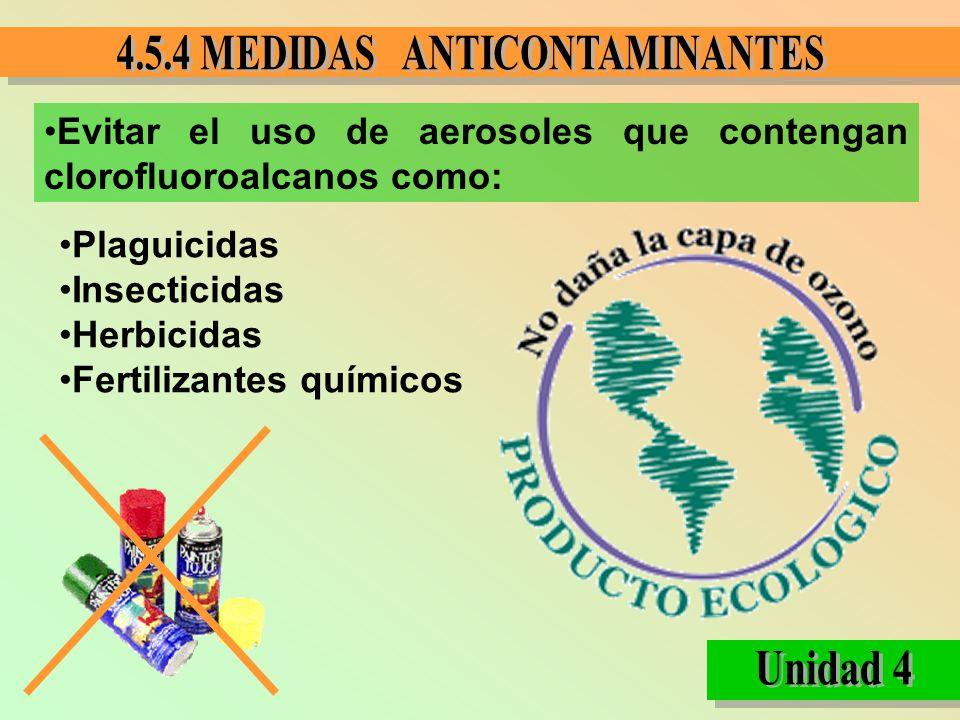 Evitar el uso de aerosoles que contengan clorofluoroalcanos como: Plaguicidas Insecticidas Herbicidas Fertilizantes químicos