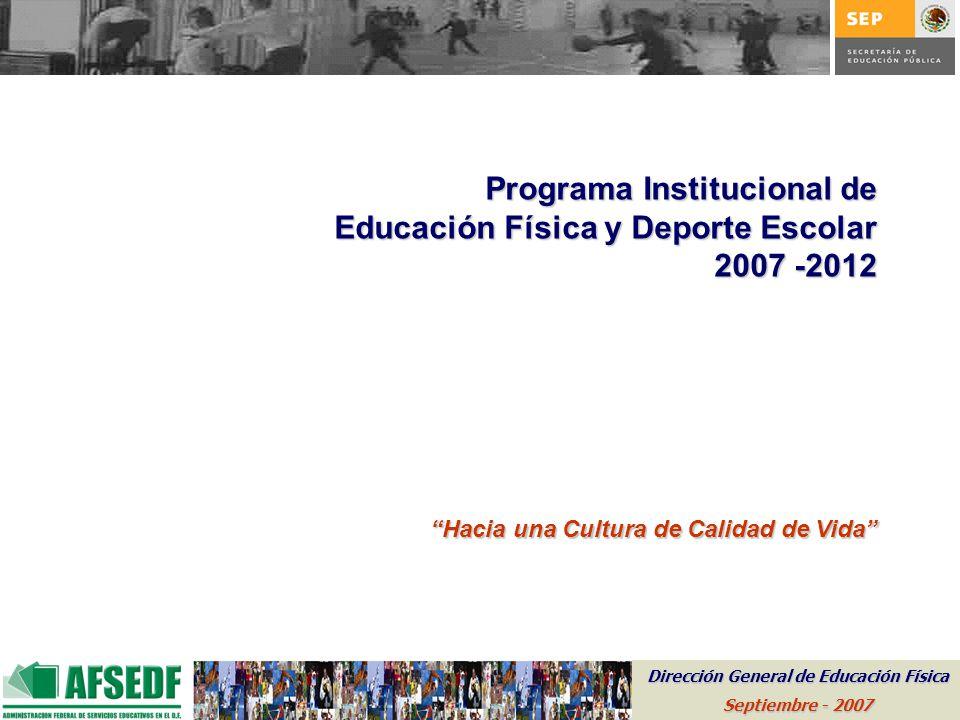 Programa Institucional de Educación Física y Deporte Escolar 2007 -2012 Hacia una Cultura de Calidad de Vida Dirección General de Educación Física Sep