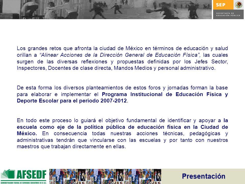 Presentación Los grandes retos que afronta la ciudad de México en términos de educación y salud orillan a Alinear Acciones de la Dirección General de