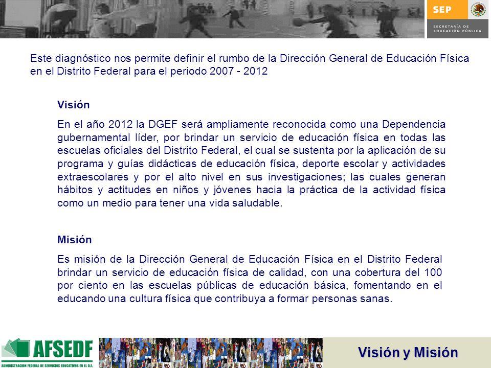 Visión y Misión Visión En el año 2012 la DGEF será ampliamente reconocida como una Dependencia gubernamental líder, por brindar un servicio de educaci