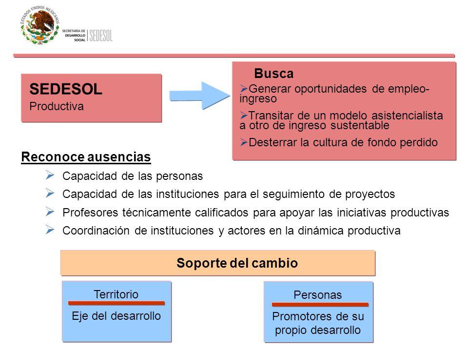 Productiva Generar oportunidades de empleo- ingreso Transitar de un modelo asistencialista a otro de ingreso sustentable Desterrar la cultura de fondo
