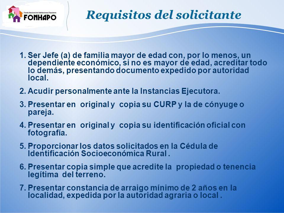 Requisitos del solicitante 1.Ser Jefe (a) de familia mayor de edad con, por lo menos, un dependiente económico, si no es mayor de edad, acreditar todo lo demás, presentando documento expedido por autoridad local.