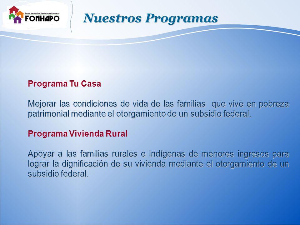 Nuestros Programas Programa Tu Casa Mejorar las condiciones de vida de las familias que vive en pobreza patrimonial mediante el otorgamiento de un subsidio federal.