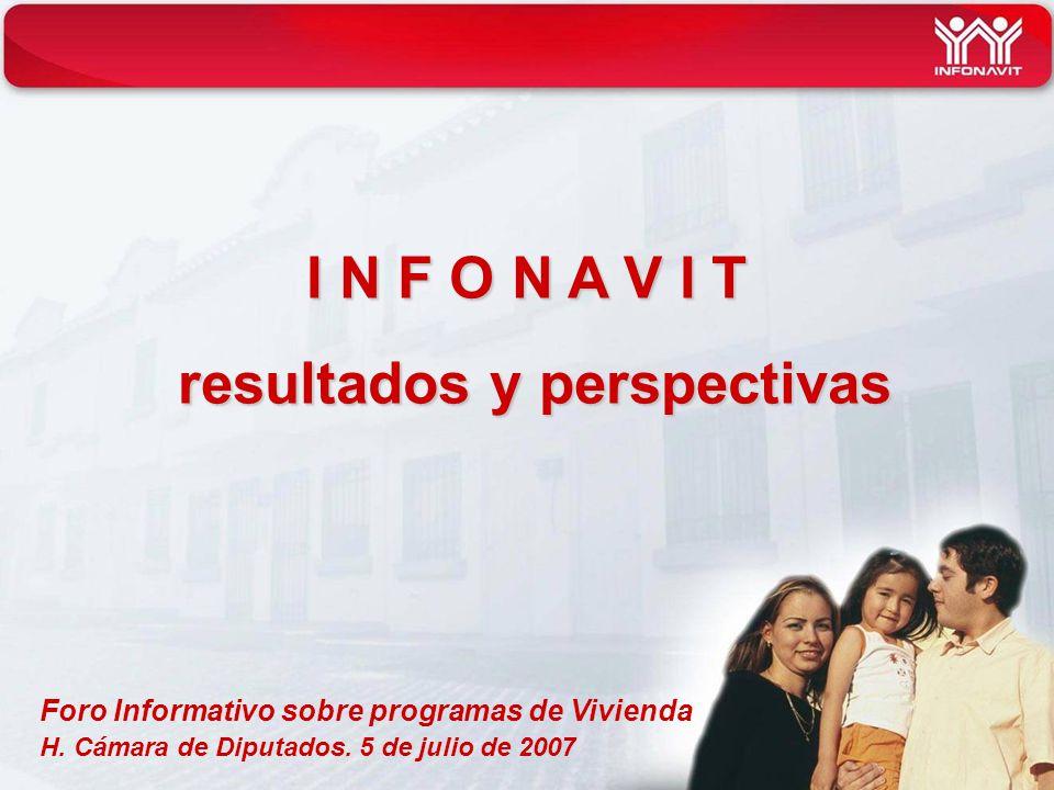 Foro Informativo sobre programas de Vivienda H. Cámara de Diputados. 5 de julio de 2007 I N F O N A V I T resultados y perspectivas