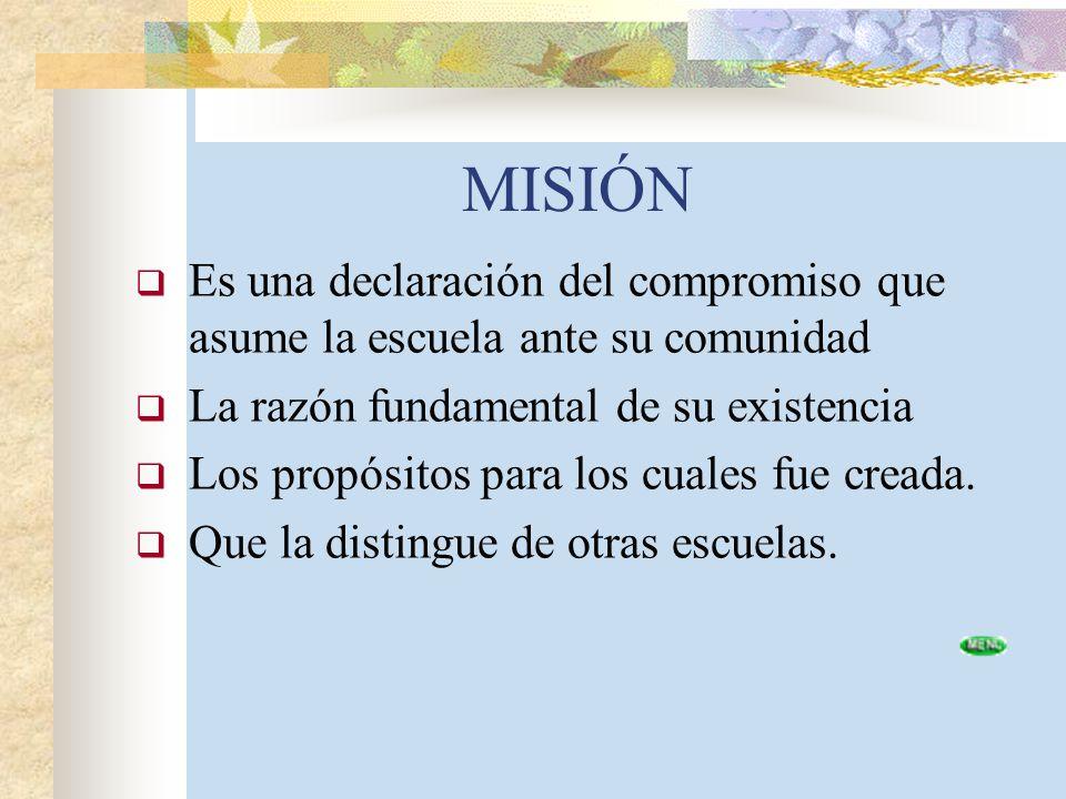 MISIÓN Es una declaración del compromiso que asume la escuela ante su comunidad La razón fundamental de su existencia Los propósitos para los cuales f