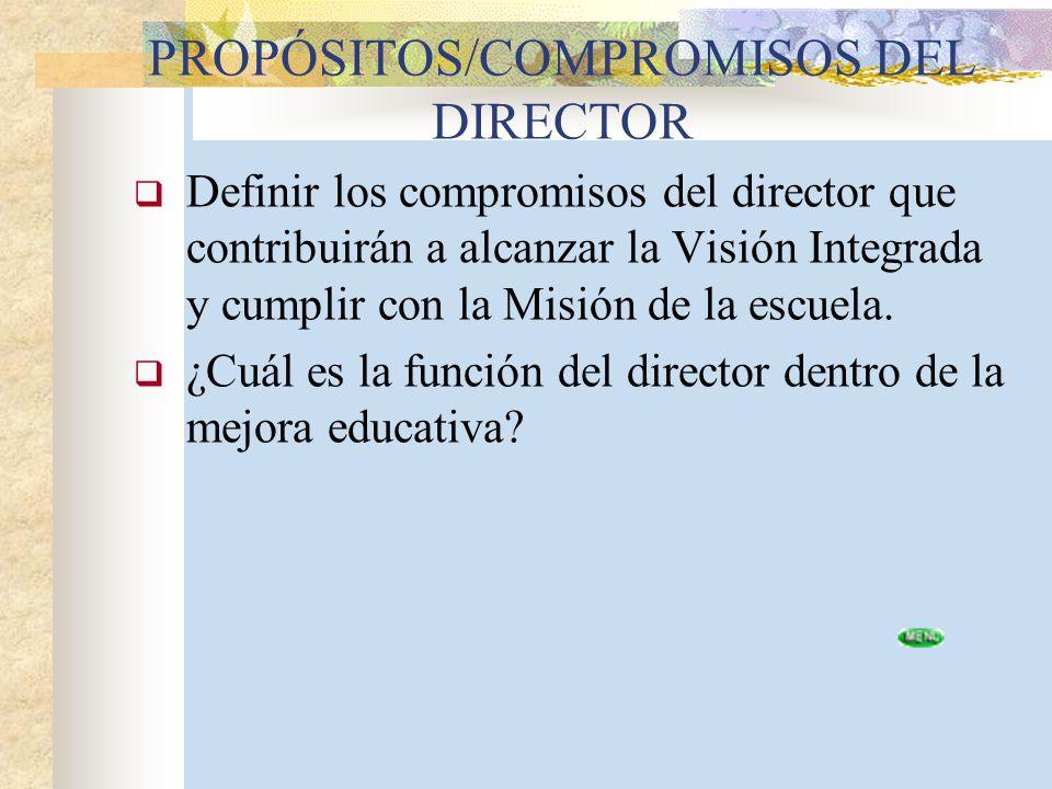 PROPÓSITOS/COMPROMISOS DEL DIRECTOR Definir los compromisos del director que contribuirán a alcanzar la Visión Integrada y cumplir con la Misión de la